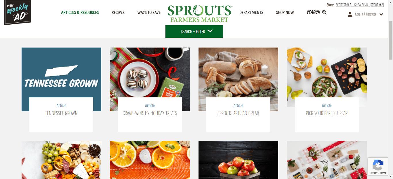 Nếu bạn quan tâm đến một lối sống lành mạnh, bạn có thể thích đọc blog của Sprout Farmer Market.  Chiến lược nội dung blog của họ bao gồm rất nhiều bài viết về chủ đề này.
